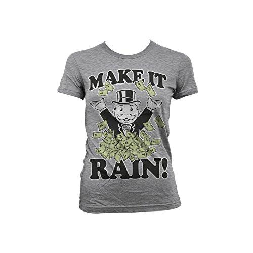 Officially Licensed Merchandise Monopoly - Make It Rain Girly T-Shirt (H.Grey), Medium