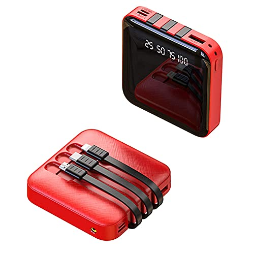 DNGDD Cargador de teléfono portátil Power Bank 20000mAh, batería Externa de Carga rápida 2.1A más pequeña y Liviana, Powerbank con 3 Cables incorporados, Paquete de batería de 4 Salidas para i-Pho