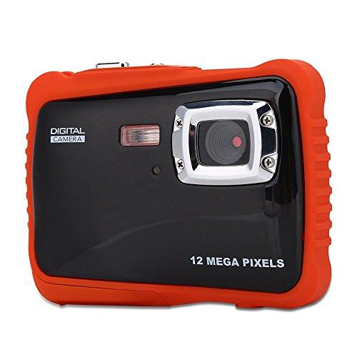 Eboxer wasserdichte High Definition 12MP 1080P Funktion Unterwasser Schwimmen Digitalkamera 4-facher Digitalzoom Camcorder für Kinder Außer Aktivitäten(orange)