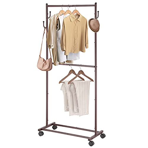 Simple Trending Double Rod Clothes Garment Rack, 4 Hooks Rolling Clothing Organizer with Wheels, Bronze