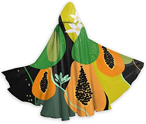 KEROTA Moda Retro Lindo Crear Papaya Fruit Mens Capes y capas Mujeres Capa 59 pulgadas Para Navidad Halloween Cosplay Disfraces