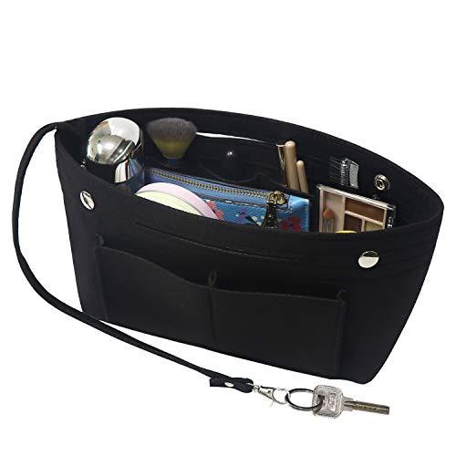 Soyizom Filz Handtasche Organizer Bag in Bag,Innentaschen für Handtaschen Organizer mit Schlüsselkette für Speedy Neverfull,8 Farben(Schwarz,Klein)