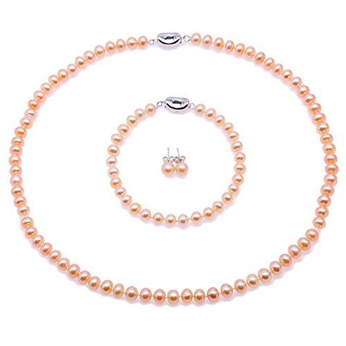 JYX perlenkette rosa Schmuckset Silber 925 Damen Perlen Halskette Set - 6-7mm AA Rosa flache Runde Süßwasser Perlenkette, Armband und Ohrstecker Set