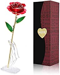 FUNINGEEK Rosa Oro 24k, Regalo para Madres Rosa Eterna Flore, Rosa de Oro Regalo para Esposa o Mom de Navidad, San Valentí, Día de la Madre, Aniversario, Cumpleaños (Rosa Rojo)