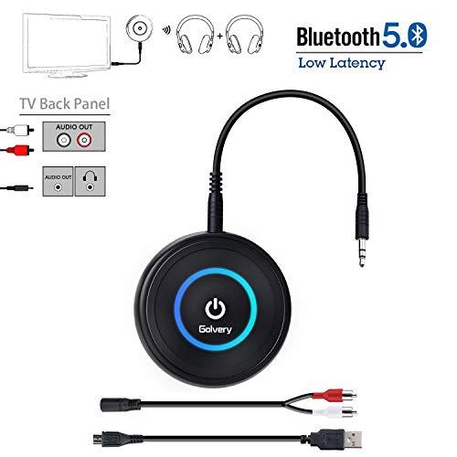 Golvery Bluetooth Sender und Empfänger (Advanced CSR Bluetooth V5.0, A2DP), Drahtloser Bluetooth Audio Adapter mit 3,5 mm, aptX Low Latency und Genießen HiFi Stereo Musik Streaming für TV, PC