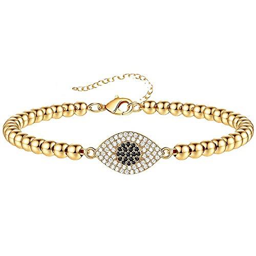 Pulseras de cuentas doradas para mujer, pulsera de ojo malvado con circonita brillante, ajustable, joyería turca de la suerte