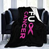Blanket Fuck Breast Cancer Pink Ribbon Throw Blanket Ultra Soft Velvet Blanket Lightweight Bed Blanket Quilt Durable Home Decor Fleece Blanket Sofa Blanket Luxurious Carpet for Men Women Kids