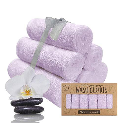 Baby-Waschlappen - Bambus Waschlappen-Handtuch - Weiche Bio Baby-Waschlappen - Gesichtstuch für Baby, Erwachsene und Kleinkinder (Soft Lilac)
