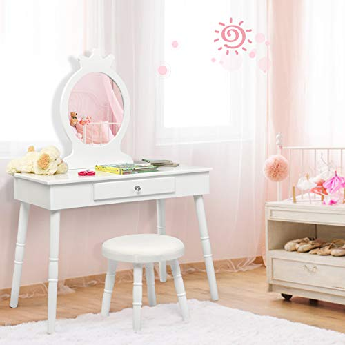 Costzon Kids Vanity Set, Wooden Princess Makeup Table with Cushioned Stool, Large Drawer, Solid Wooden Legs and Crown Mirror, Pretend Beauty Make Up Dressing Play Set for Girls Best Gift (White)