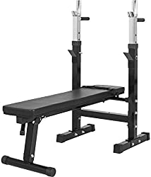 GORILLA SPORTS® weight bench with adjustable shelf black - folding training bench with dip handles up to 200 kg
