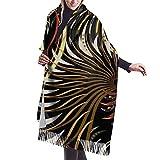Alas abstractas marrones y beige sobre fondo negro Bufanda clásica de cachemir sensación suave de invierno, cálida manta grande, elegante abrigo chal con flecos bufandas para hombres y mujeres