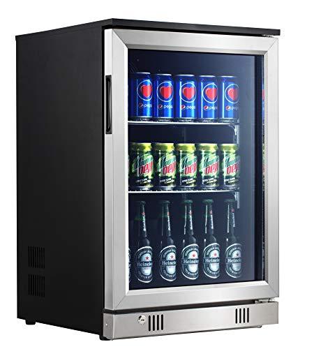 Advanics XXL Getränkekühlschrank mit Glastür & Schloss 88 Liter, Minibar, Flaschenkühlschrank, Mini Kühlschrank, 3-10 °C, Geräuschlos 42 dB,77cm Höhe, mit LED-Beleuchtung, für Bier Wein Dosen/Flaschen