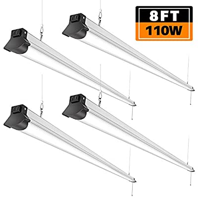 FaithSail 8FT LED Shop Lights 110W, 12000 Lumen, 5000K, Linkable 8 Foot LED Fixture for Garage, Warehouse, Workshop, Plug in with Power Cord, Pull Chain, Daylight Lighting, ETL Certified, 4 Pack