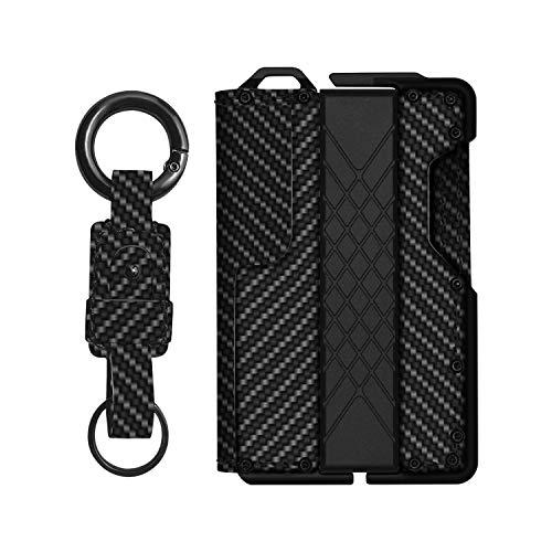 MURADIN Dapper Leather Bifold Wallet – Genuine Tactical Wallet – Card Wallet for Men – RFID-Blocking Aluminum Metal Wallet (Matte black 2)