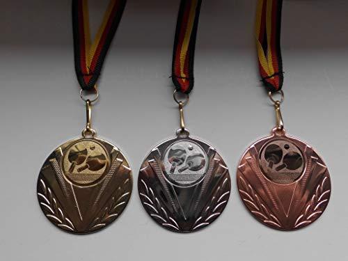 Fanshop Lünen Medaillen Set - Stahl 50mm - Gold, Silber, Bronze - Tischtennis - TT - Medaillenset - Alu Emblem 25mm - mit Medaillen-Band - (e247) -