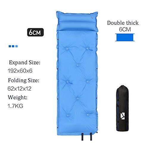 Colchón de Aire autoinflable,Inflable Individual Espesar Dormir Pad con Construido En La Almohada, Ultraligero Mochilero Espuma Colchón De Espuma Plegable del Amortiguador De Asiento (Color : Blue)