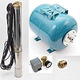 Hochwertiges 100 L Hauswasserwerk Hauswasserautomat Tiefbrunnenpumpe 8,4 bar 4500 l/h 0,75kW