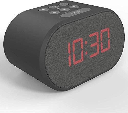 HUIQ Reloj despertador de cabecera sin tictac Reloj despertador con retroiluminación LED con cargador USB y radio FM Pantalla regulable de 5 pasos - Alimentación de red con batería de reserva (Negro)