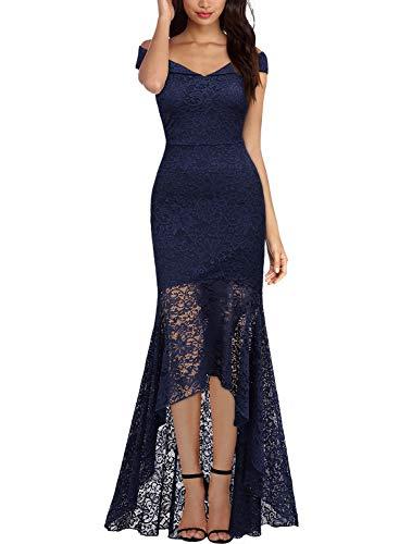 Miusol Vintage Encaje Slim Vestido de Noche Largo para Mujer