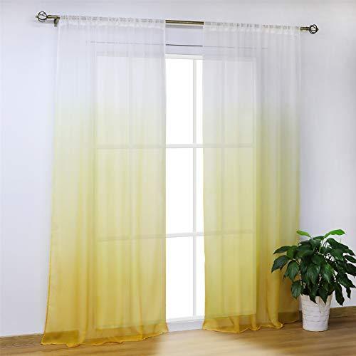 SCHOAL Gardinen mit Tunnelzug Transparente Vorhänge Voile Fensterschal Modern Farbverlauf 1 Stück BxH 140x225cm Gelb