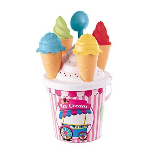 Mondo Toys Girl Ice Cream Bucket Set, Set Mare Renew Toys con Secchiello, Setaccio, Formine Coni Gelato e Cucchiaino Inclusi, 28445