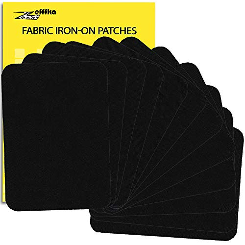 "ZEFFFKA Premium Quality Fabric Iron-on Patches Inside & Outside Strongest Glue 100% Cotton Black Repair Decorating Kit 12 Pieces Size 3"" by 4-1/4"" (7.5 cm x 10.5 cm)"