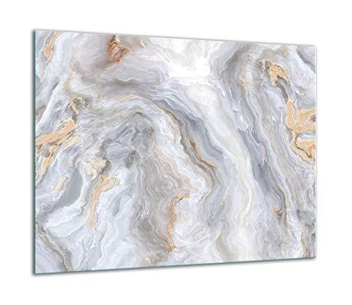 TMK | Placa de cristal para cubrir la cocina de 60 x 52 cm, una sola pieza, protección contra salpicaduras, color blanco mármol