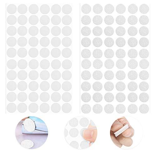 O-Kinee 540 Pares Velcr Adhesivo Redondo, Lunares Adhesivo 20mm Velcr Adhesivo Cintas Autoadhesivo Puntos Pegajoso Monedas Puntos (Blanco 20mm)