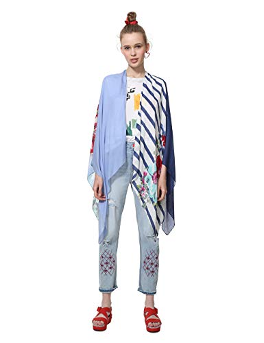 Desigual Damen Poncho Adelaida Woman White Schal, Weiß (Crudo 1001), One Size (Herstellergröße: U)