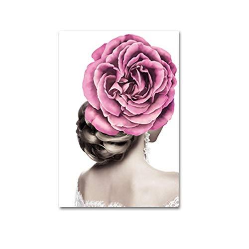 LKJHGU Creative Fashion Model Flower Hair Women Makeup Prints Canvas Paintings Posters Wall Art Pictures for Beauty Salon Home Decoration 30 * 40cm