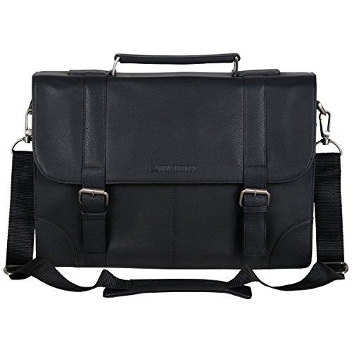 Ben Sherman Karino Leather 15' Laptop & Tablet Crossbody Business Bag With RFID, Flapover Portfolio, Black