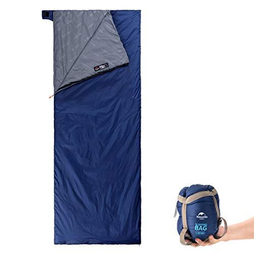 Naturehike Ultralight Sleeping Bag - Envelope Lightweight Portable, Waterproof, Comfort with Compression Sack - Great for 3 Season Traveling, Camping, Hiking (Dark Blue (Extra Large))