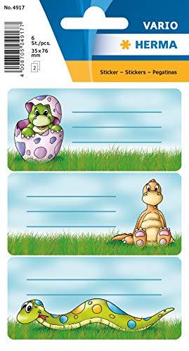 HERMA 4917 - Etiquetas autoadhesivas para libros con diseño de dinosaurios, para la escuela de niños, niñas y niños, 6 etiquetas escolares