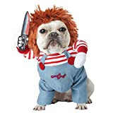 FXCO Tödliche Puppe Halloween Scary Dog Kostüme Lustige Haustierkleidung Babyhose Cosplay Kleidung Set