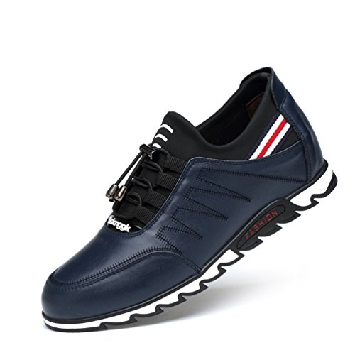 LanFengeu Herren Freizeitschue Gummiaußensohle Entspannt Stoßdämpfung Klassisch Leichte Niedrig Bequeme Verbindung Schnür-Sneakers Blau 44 EU