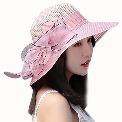 HLJ Protección UV Gorra con Visera de Sun del Sombrero Femenino del Verano Salvaje de Paja Que Cubren su Viaje Cara (Color : Pink)