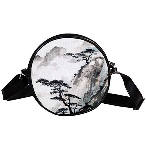 Bennigiry Damen-Umhängetasche, chinesische Landschaftsmalerei, rund, Umhängetasche, Handtasche
