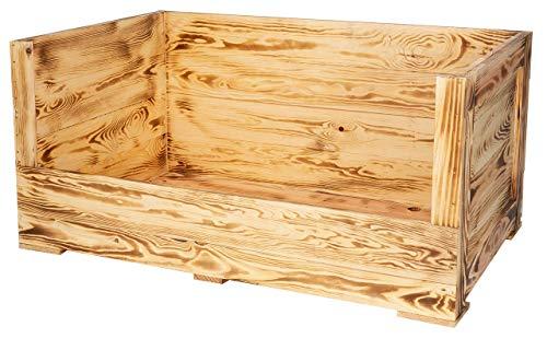 Moooble 1x geflammte Holzkiste mit besonderer Holzmaserung und großem Einstieg| Neu | 90x57x45cm | Hundebett mit dickem & warmen Polster