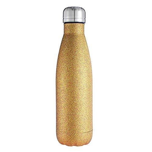 shuoshiliujin Kühlbecher, Bowlingkugel, Isoliersauger aus Edelstahl, Business Car Cup, Cola-Flasche, Glitzer-Gold, 500ml