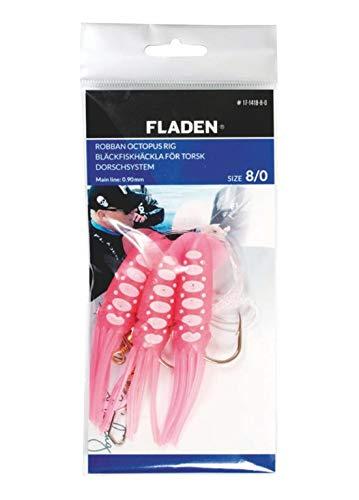 Fladen Robban Octopus Rig, Dorschsystem Bestehend aus 3 pinkfarbenen Oktopussen mit weißen o. Blauen Punkten, Schnur 0,90mm, 8/0 oder 10/0 (Pink/Weiß, 8/0)