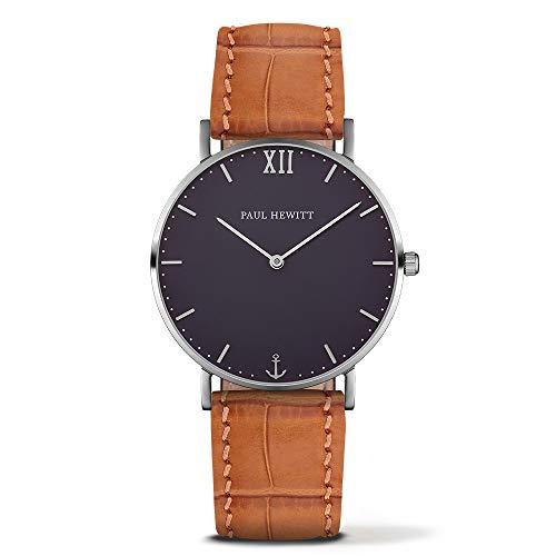 Paul Hewitt Unisex Erwachsene Analog Quarz Uhr mit Leder Armband PH-SA-S-St-B-16M