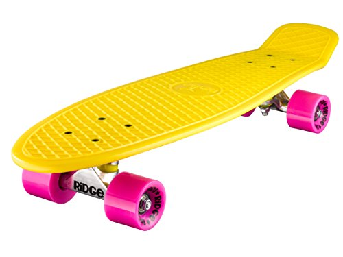 Ridge Skateboard Big Brother Nickel 69 cm Mini Cruiser, gelb/rosa