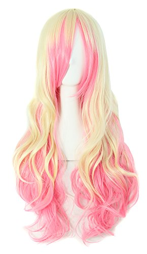 MapofBeauty 28' Wavy Multi-Color Lolita Cosplay Wig Party Wig (Pink/Light Gold)