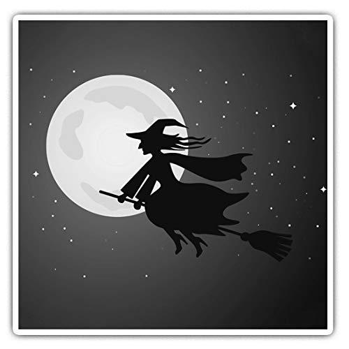 Impresionantes pegatinas cuadradas (juego de 2) 10 cm BW – Halloween Wicked Witch Cartoon Divertidos calcomanías para portátiles, tabletas, equipaje, reserva de chatarras, neveras, regalo genial #37657
