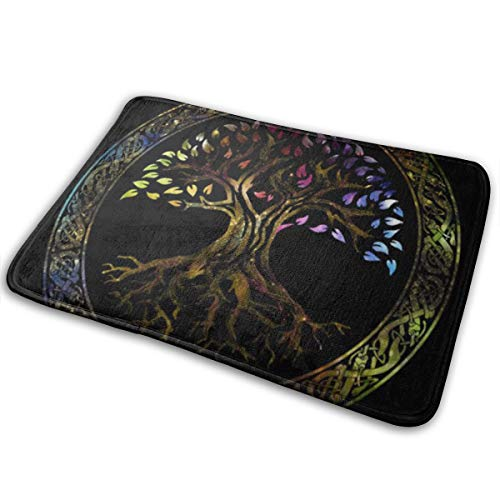 "Universal Anti SlipDoor Mat – Size 16"" X 24"",Entrance Outdoor & Indoor Welcome Mat,Rectangular Anti Slip Doormat Colorful Celtic Glowing Tree of Life Knot Irish Gaelic"