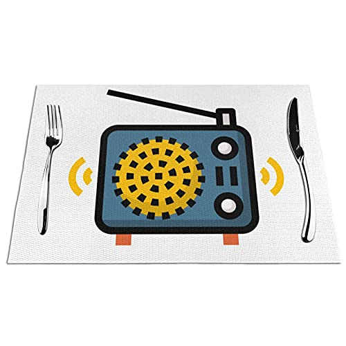 KPJDWEDS Radio Placemats, Washable Easy to Clean, Heat Resistant Stain Anti-Skid PVC Placemats, Woven Vinyl Table Mats for Kitchen Dining Table 12 X 18 Inch(Set of 4)