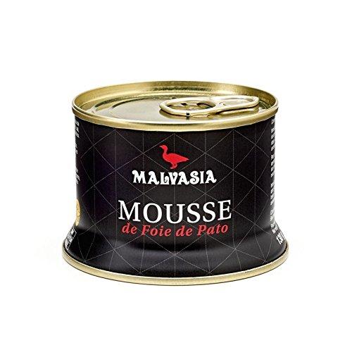 Mousse de Foie de Pato Gourmet sabor tradicional Malvasia, presentado en práctica lata abre fácil de 130 g.