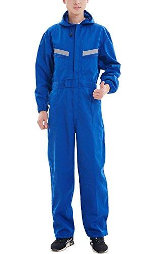 Arbeitslatzhose Herren Anti-Staub ArbeitsoverallArbeits-Latzhose Männer Wasserdicht Arbeisthose Blau XS