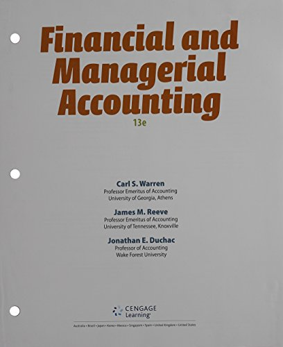 Bundle: Financial & Managerial Accounting, Loose-Leaf Version, 13th + CengageNOWv2, 2 terms (12 months) Printed Access C