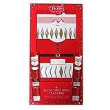 Make Your Own Christmas Crackers – Père Noël, lot de 6 – Avec étiquettes, ruban de soie, chapeaux, motos et boutons-pression